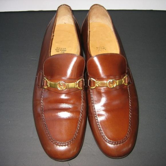 f7f7f2104a99f GUCCI Brown Horsebit Double G Dress Loafers, 9 M